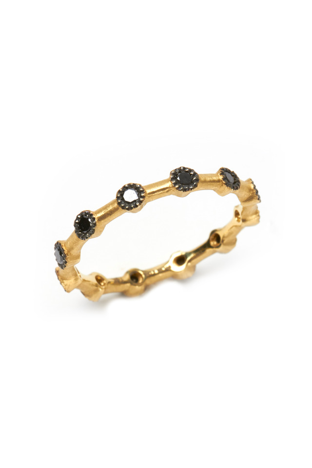 Thin Gold Black Diamond Stack Ring