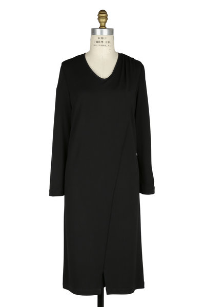 Kiton - Black Jersey Draped Front Dress