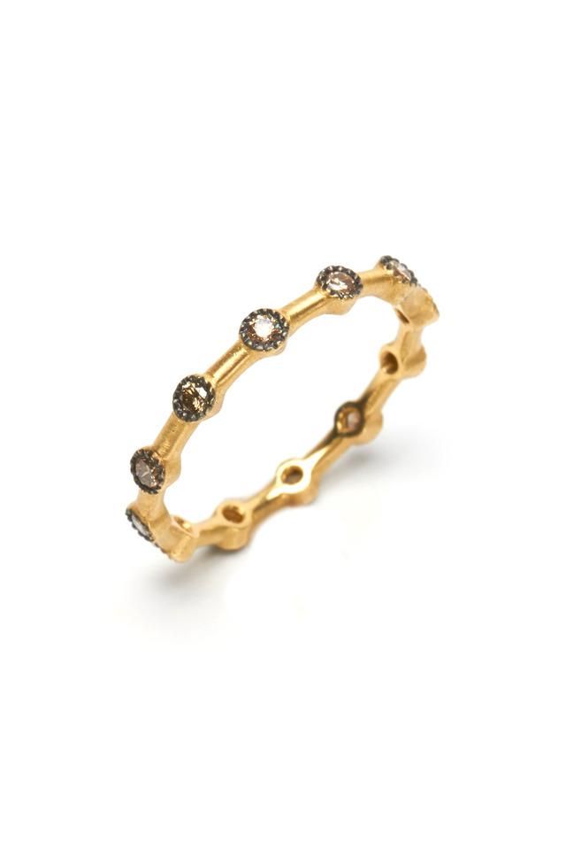 Gold Champagne Diamond Dot Ring