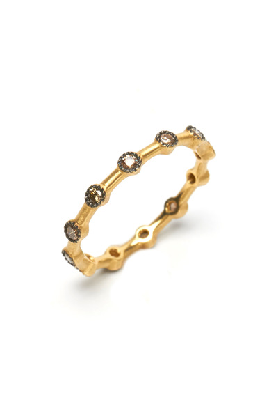 Sylva & Cie - Gold Champagne Diamond Dot Ring