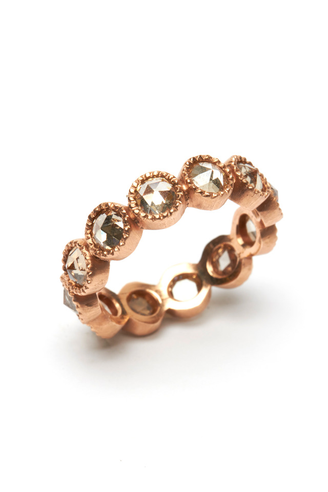 Rose Gold Rose-Cut Champagne Diamond Band
