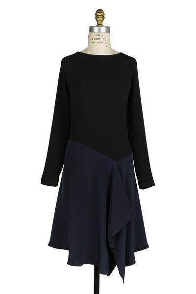 Peter Cohen - Black & Navy Blue Silk Draped Dress