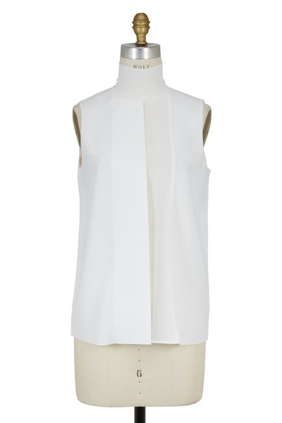 Vince - White Pleated Front Turtleneck Blouse
