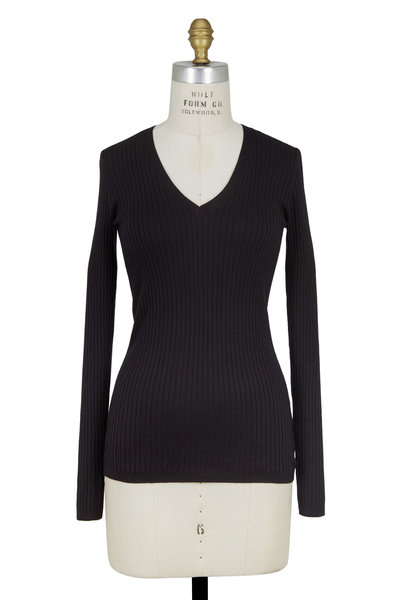 Vince - Black Ribbed Knit V-Neck Sweater