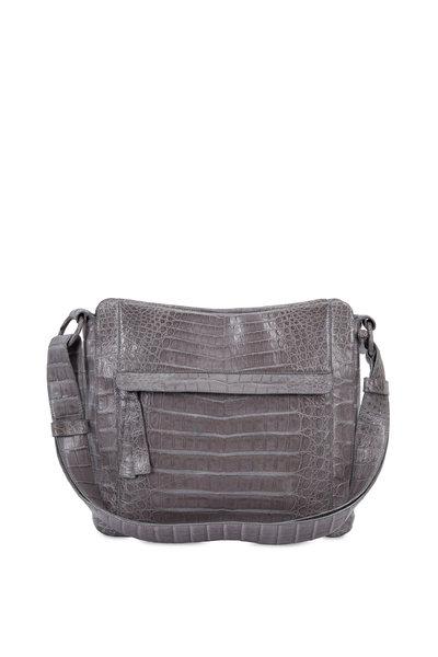 Nancy Gonzalez - Light Gray Crocodile Convertible Hobo Bag