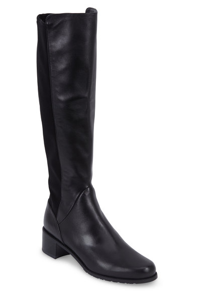 Stuart Weitzman - Grounded Black Leather Classic Tall Boot, 40mm