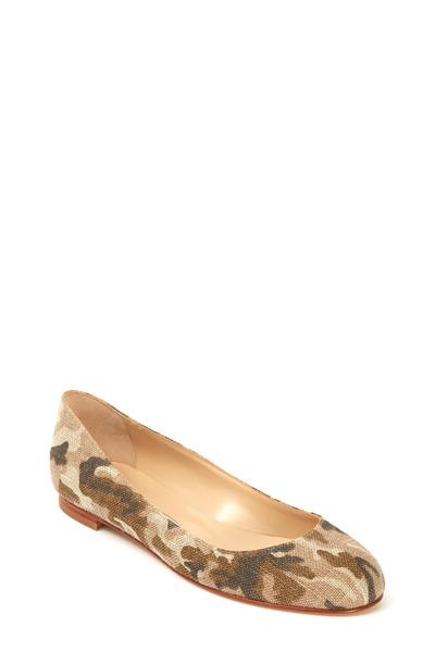 Manolo Blahnik - Tere Military Linen Ballet Flat