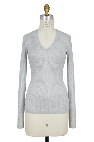 Vince - Light Gray Ribbed V-Neck Knit Top