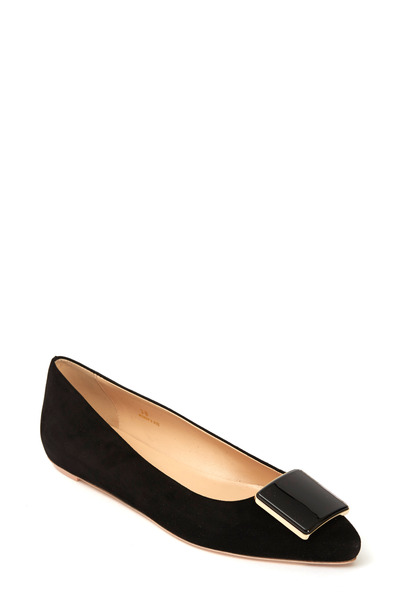 Tod's - Black Suede Glass Square Ballet Flat