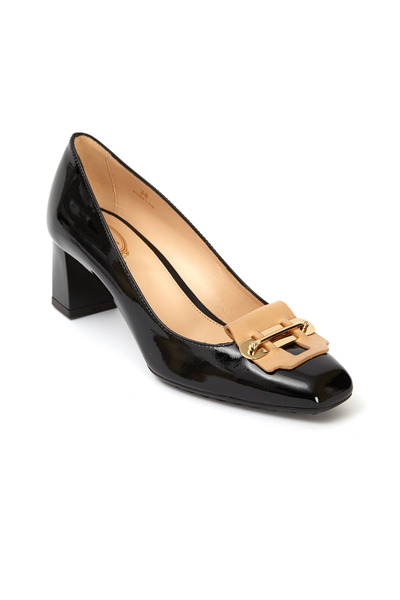 Tod's - Black & Tan Patent Leather Square Heel Apron Pumps