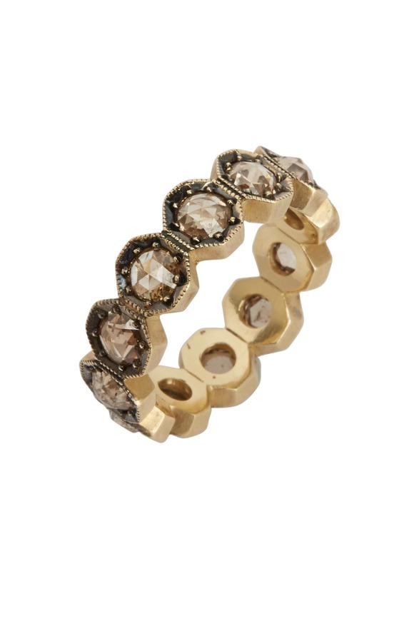 Sylva & Cie Champagne Diamond Octagon Ring