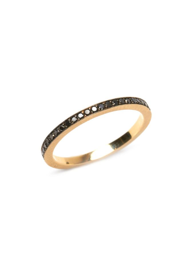 Gold Black Diamond Oxidized Rail Ring