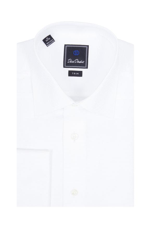 David Donahue White Textured French Cuff Dress Shirt