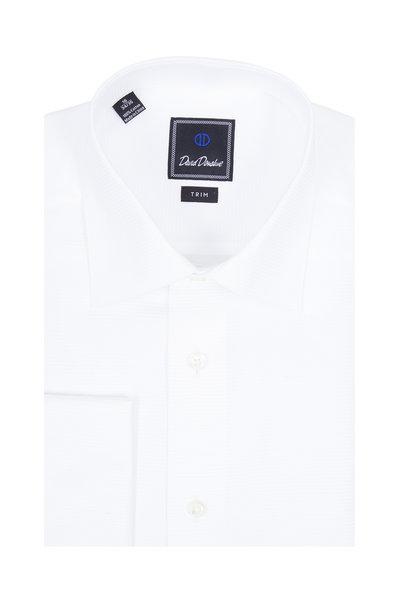 David Donahue - White Textured French Cuff Dress Shirt