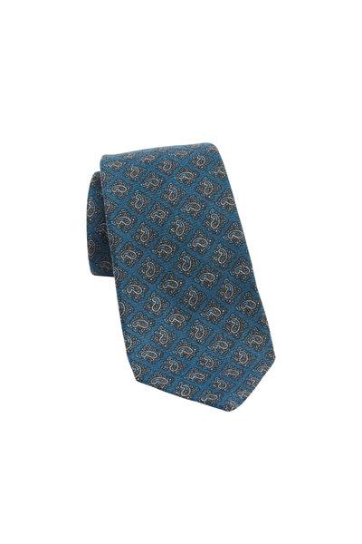 Kiton - Teal Paisley Cashmere Necktie
