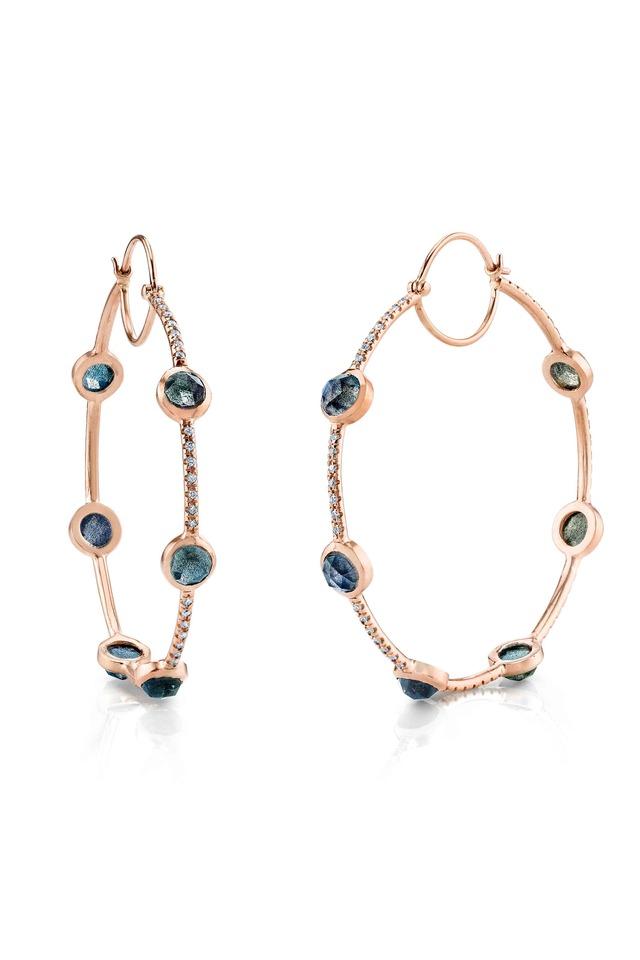 Labradorite Gemstone Rose Gold Hoop Earrings