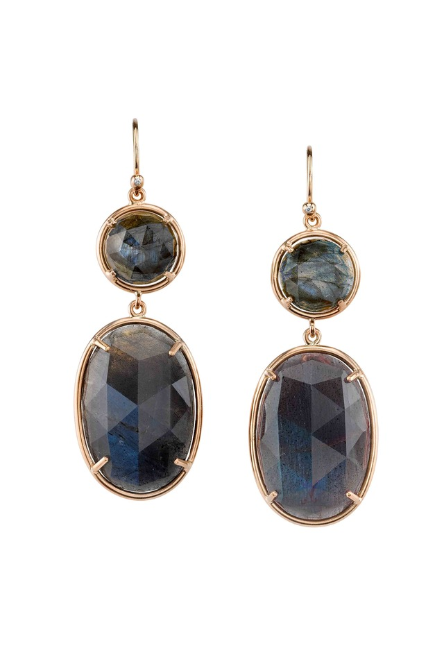 Rose Gold Labradorite Dangle Drop Earrings