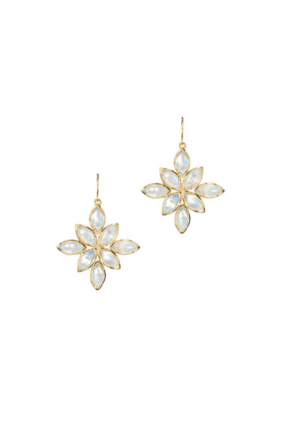 Irene Neuwirth - Gold Marquise-Cut Rainbow Moonstone Earrings