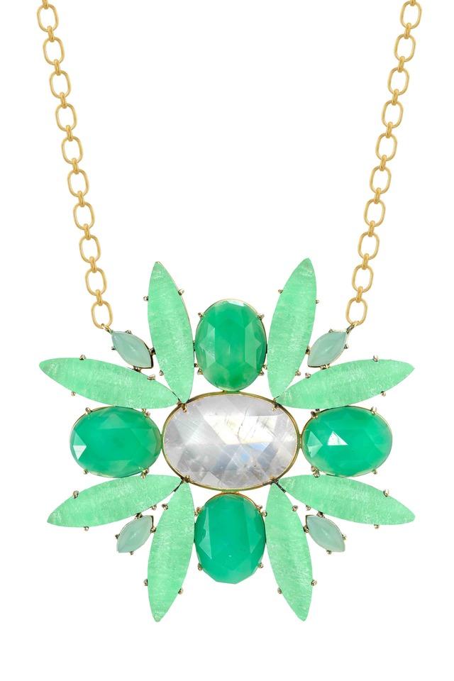 Gold Moonstone Chrysoprase Starburst Necklace
