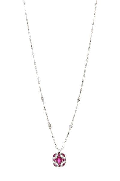 Kwiat - 18K White Gold Ruby & Diamond Pendant Necklace
