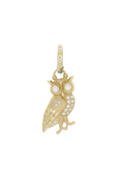 Temple St. Clair - 18K Yellow Gold Diamond Athena Owl Pendant