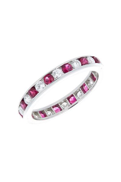 Oscar Heyman - Platinum Alternating Ruby & Diamond Guard Ring