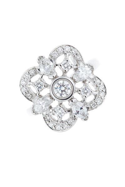 Kwiat - 18K White Gold Diamond Clover Ring
