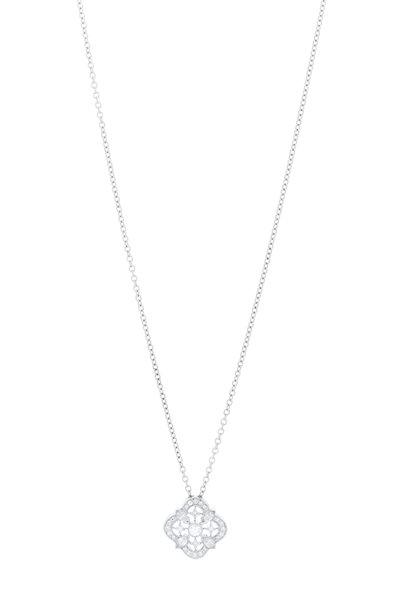 Kwiat - 18K White Gold Diamond Clover Pendant Necklace