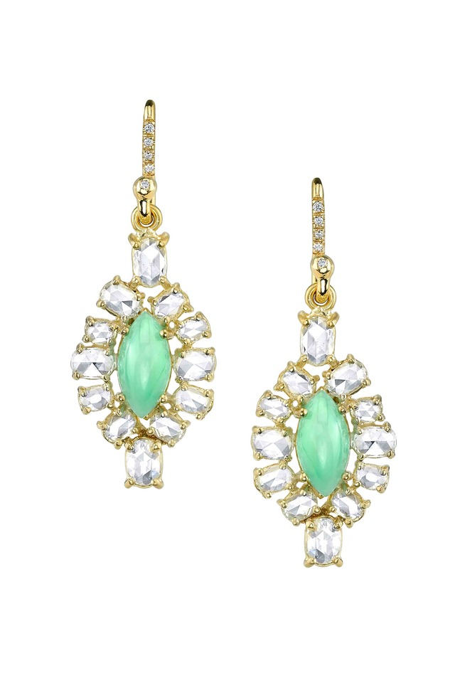 Gold Chrysoprase Diamond One-Of-A-Kind Earrings