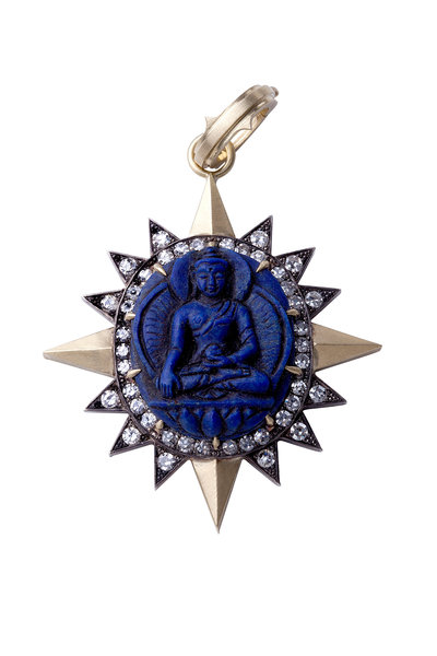 Sylva & Cie - 18K Gold & Silver Lapis & Diamond Buddha Pendant