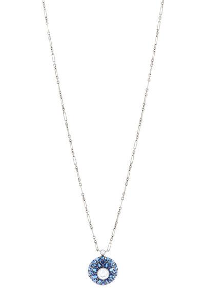 Kwiat - 18K White Gold Sapphire & Diamond Bombe Pendant