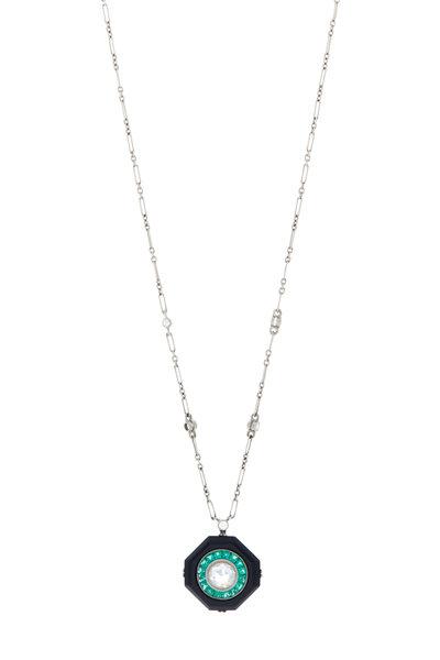 Kwiat - 18K White Gold Emerald, Onyx & Diamond Necklace