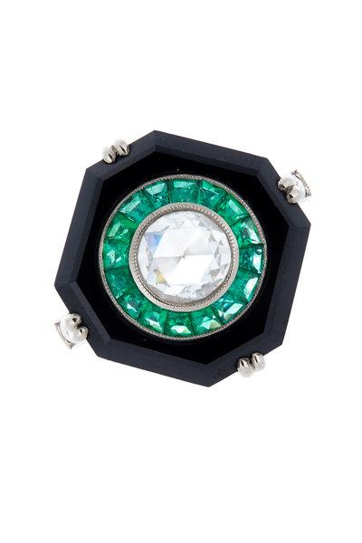 Kwiat - 18K White Gold Emerald, Onyx & Diamond Ring
