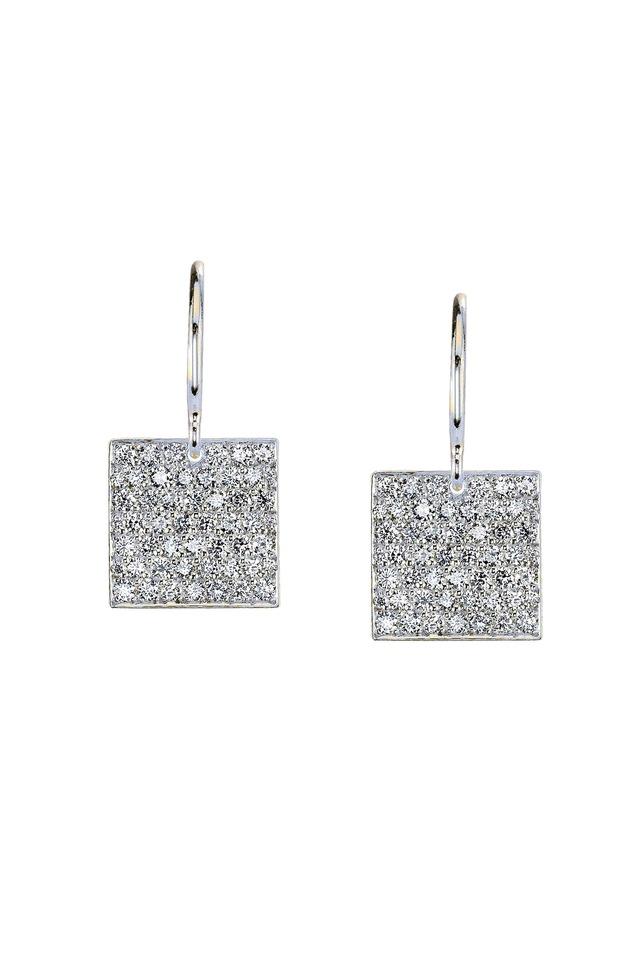 White Gold Diamond Square Earrings