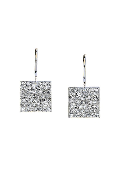 Irene Neuwirth - White Gold Diamond Square Earrings