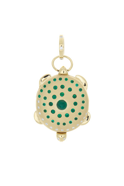 Temple St. Clair - 18K Yellow Gold Emerald Spiral Turtle Locket