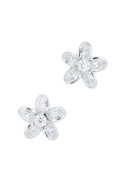 Oscar Heyman - Platinum Diamond Flower Earrings