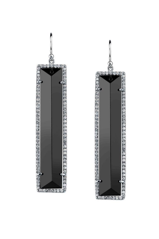 White Gold Black Onyx Diamond Earrings