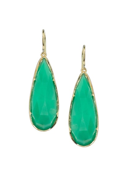 Irene Neuwirth - Yellow Gold Chrysoprase Dangle Earrings