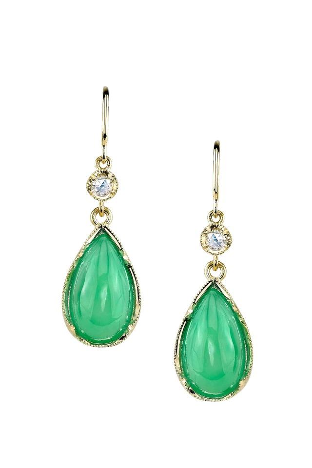 Gold Chrysoprase Diamond Dangle Earrings