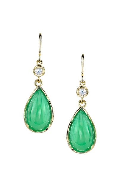 Irene Neuwirth - Gold Chrysoprase Diamond Dangle Earrings