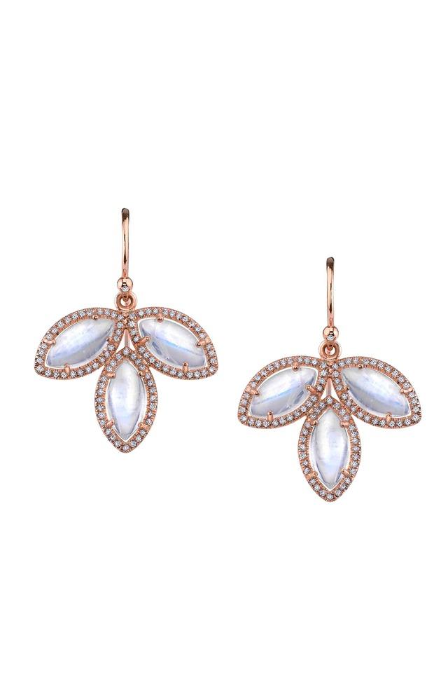 Rose Gold Triple Moonstone Diamond Earrings