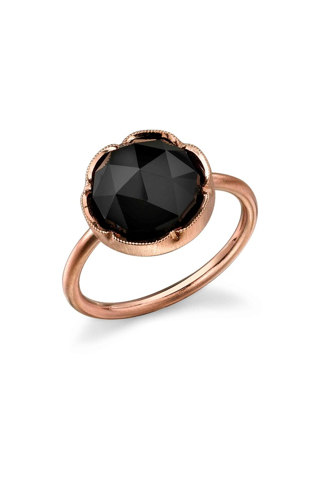 Rose Gold Black Onyx Stack Ring