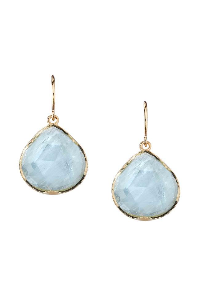 Gold Aqua Diamond Earrings