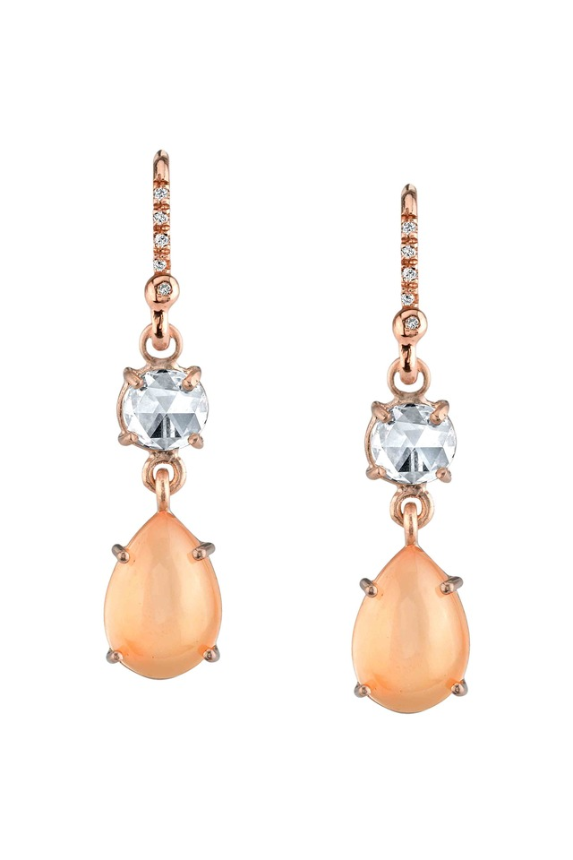 Rose Gold Peach Moonstone Diamond Earrings