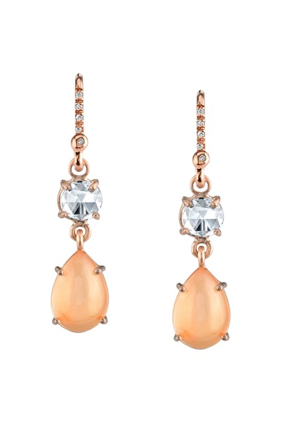Irene Neuwirth - Rose Gold Peach Moonstone Diamond Earrings