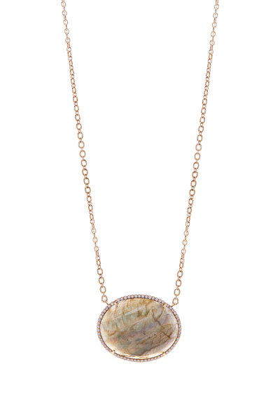 Irene Neuwirth - Rose Gold Labradorite Diamond Necklace