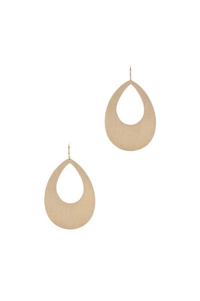 Irene Neuwirth - Gold Flat Pear-Shaped Earrings