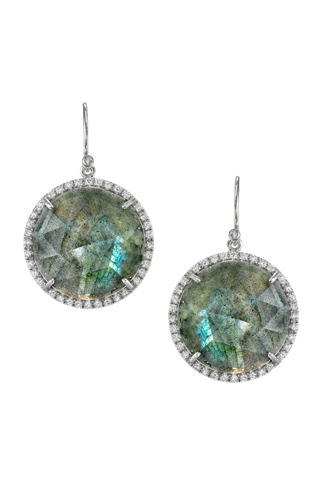 White Gold Labradorite Pavé-Set Diamond Earrings