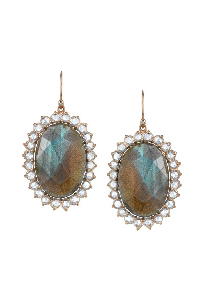 Irene Neuwirth - Rose Gold Labradorite Rose-Cut Diamond Earrings